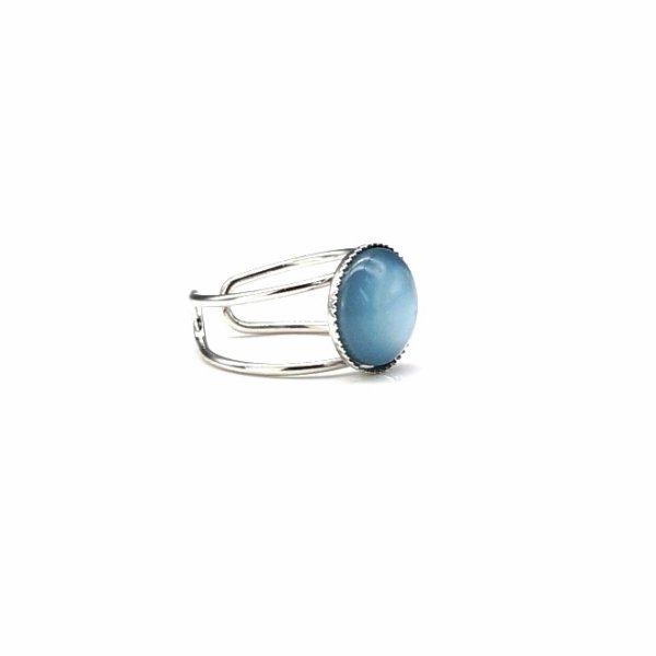 Polaris Ring shine sea blue - grosse Ringschiene-Fassung 14mm